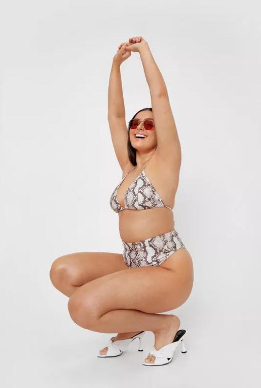 Plus Size Snake High Waisted Bikini Bottoms