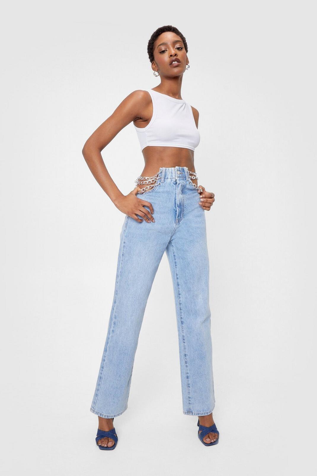 Chain Detail High Waisted Straight Leg Jeans