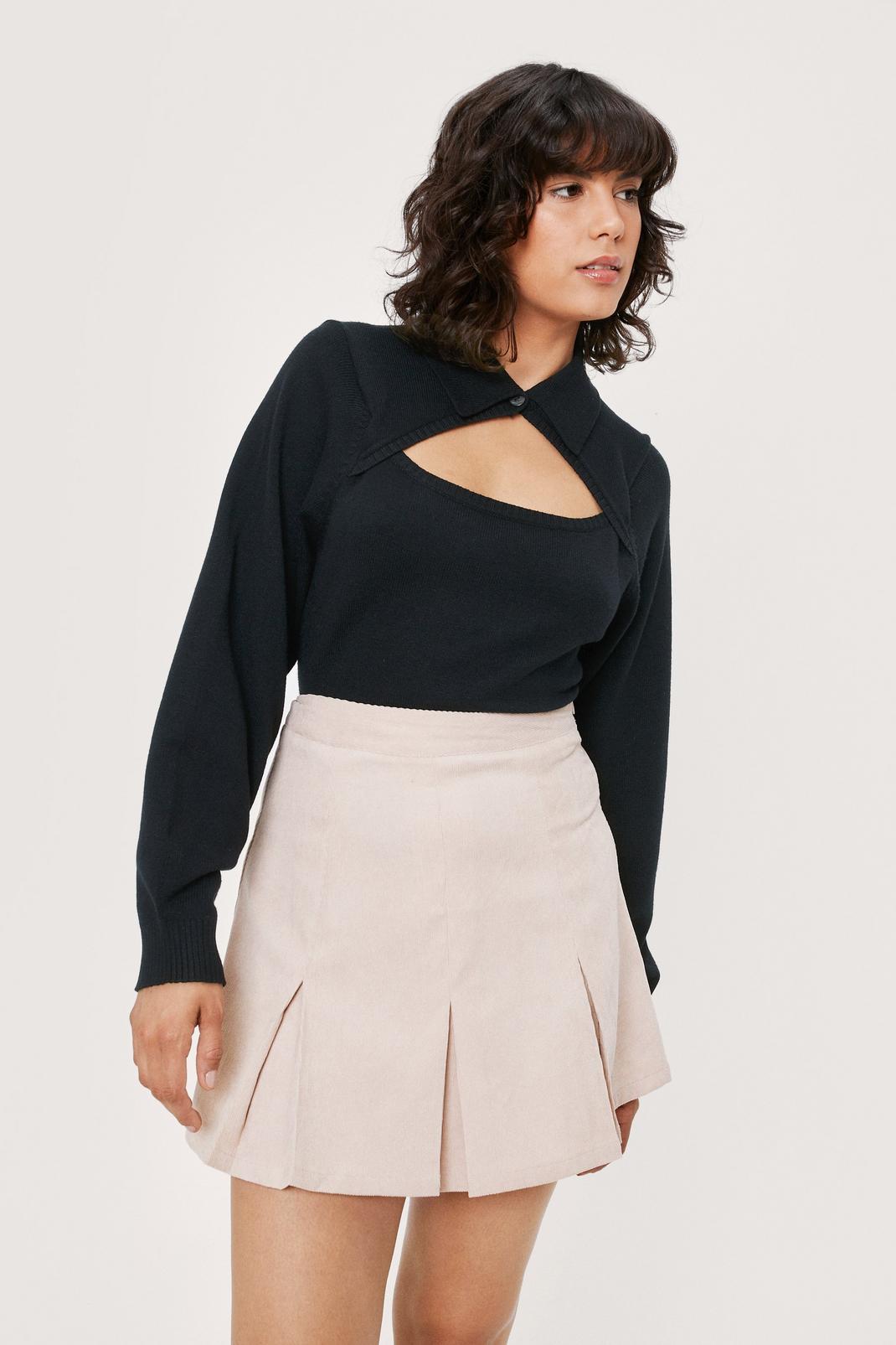 Pleated Hem Corduroy Mini Skirt