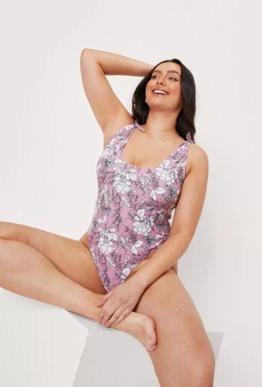 Plus Size Floral Tie Shoulder Swimsuit