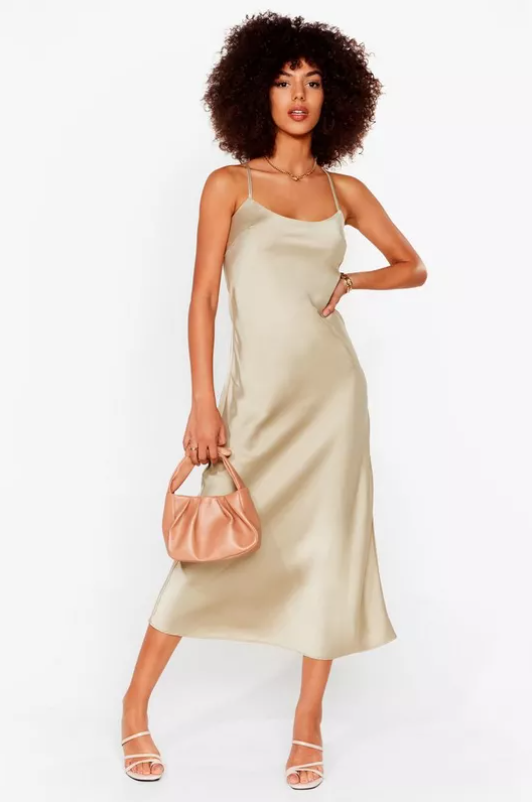 Satin Square Neck Midi Slip Dress