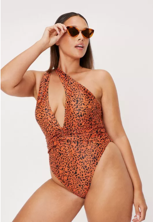 Plus Size Leopard Print One Shoulder Swimsuit