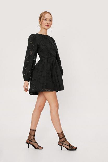 Burnout Velvet Puff Sleeve Mini Dress