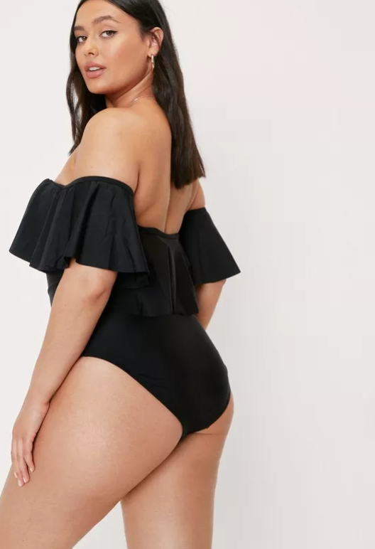 Plus Size Off The Shoulder Ruffle Swimsuit