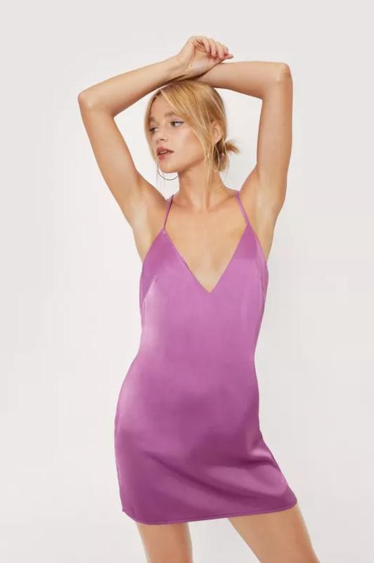 Petite Plunge V Neck Satin Mini Dress