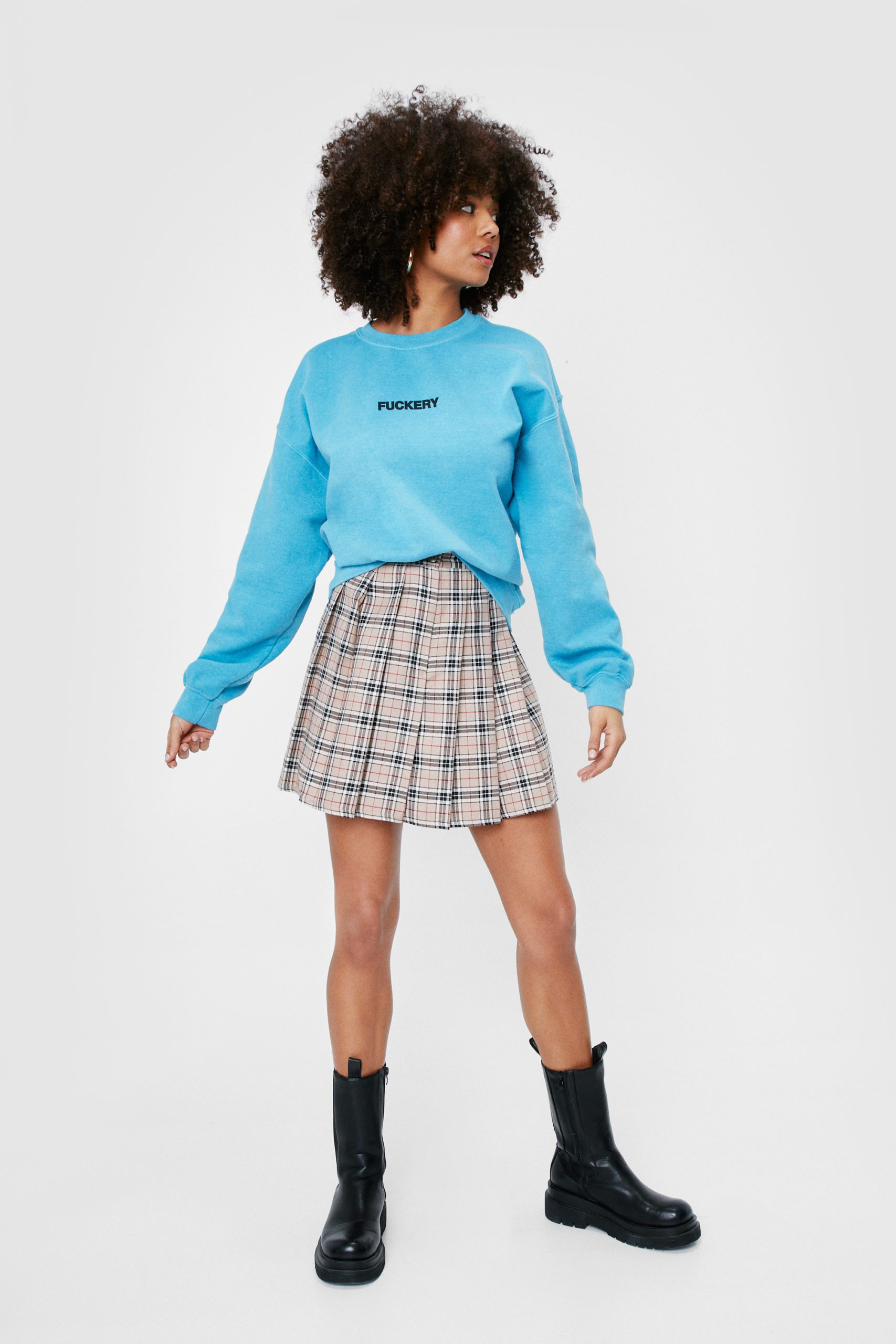 Check Pleated Button Mini Skirt