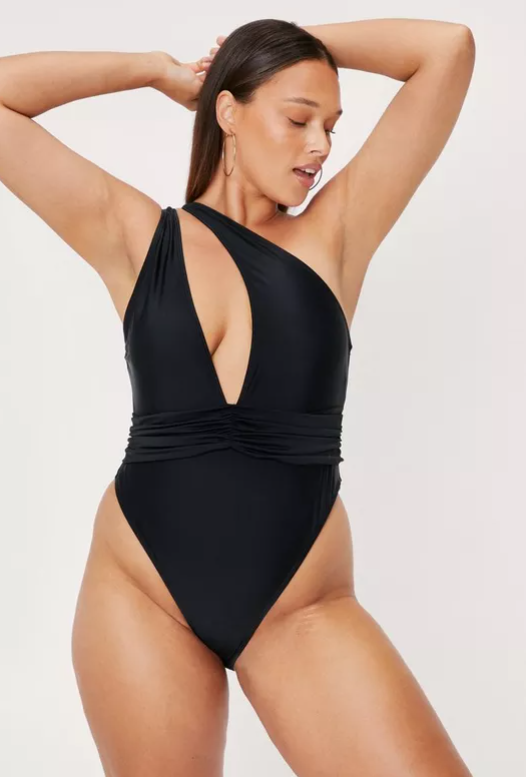 Plus Size One Shoulder Plunge Swimsuit