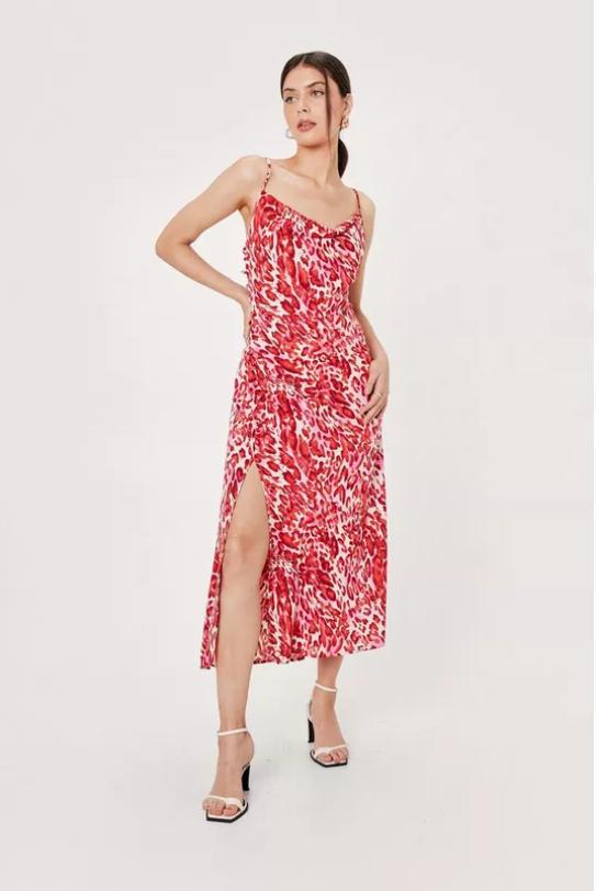 Animal Print Cowl Neck Midi Slip Dress