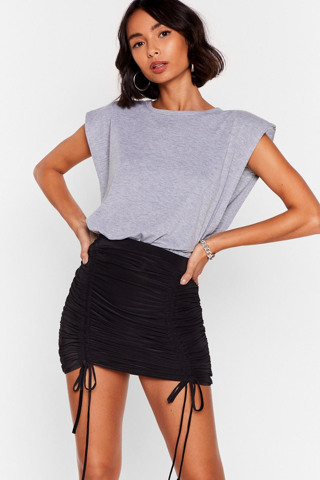 Slinky Ruched Tie Front Mini Skirt