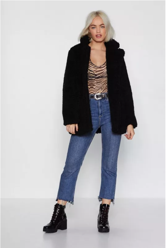 Relaxed Faux Shearling Button Down Jacket