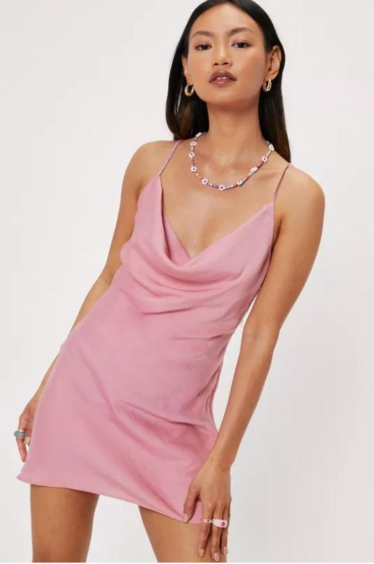 Petite Satin Cowl Neck Mini Dress