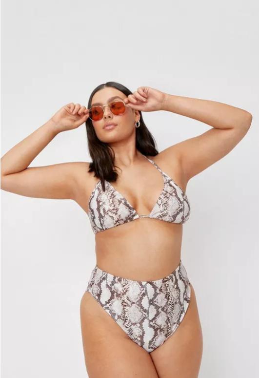 Plus Size Snake Print Triangle Bikini Top