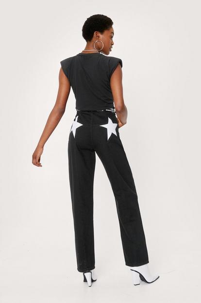 High Waisted Star Straight Leg Jeans