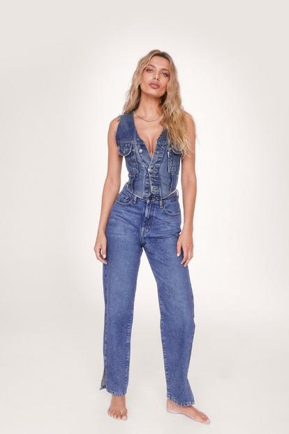 Organic Denim Split Hem Straight Leg Jeans