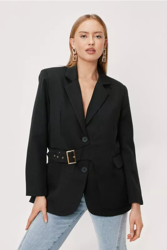 Tailored Buckle Detail Long Sleeve Blazer