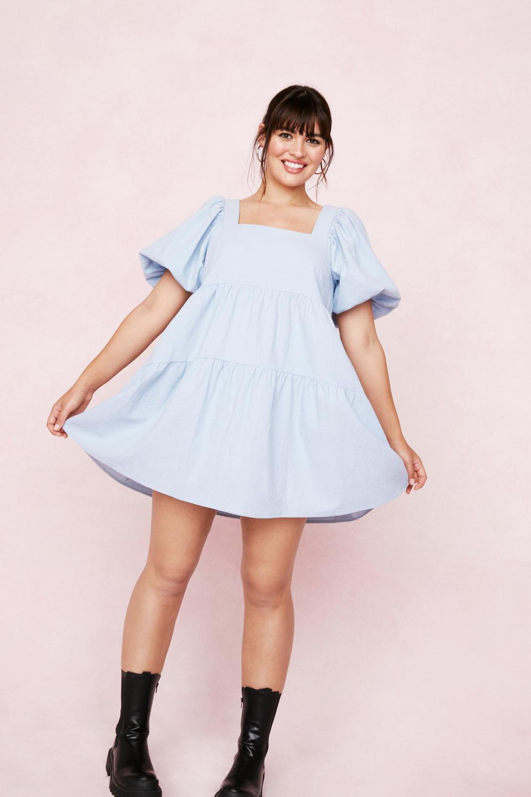 Plus Size Puff Sleeve Mini Dress