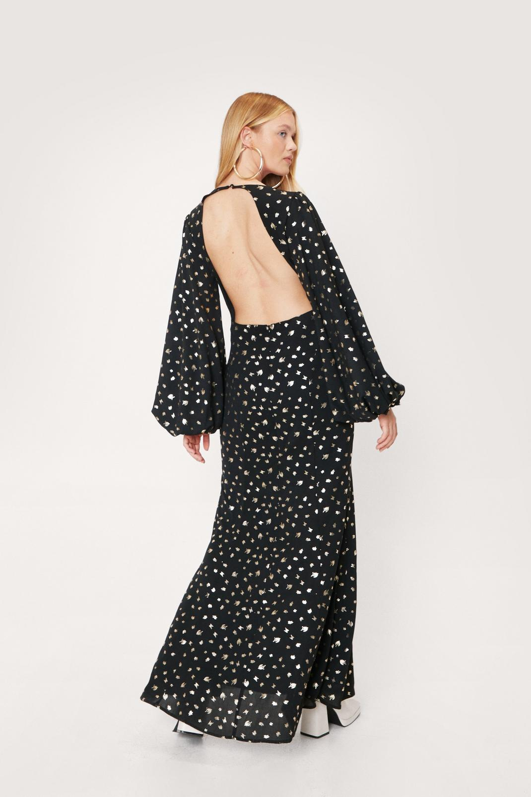 Metallic Polka Dot Backless Maxi Dress