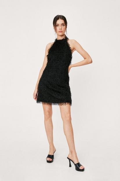 Black Fringe Halter Neck Mini Dress