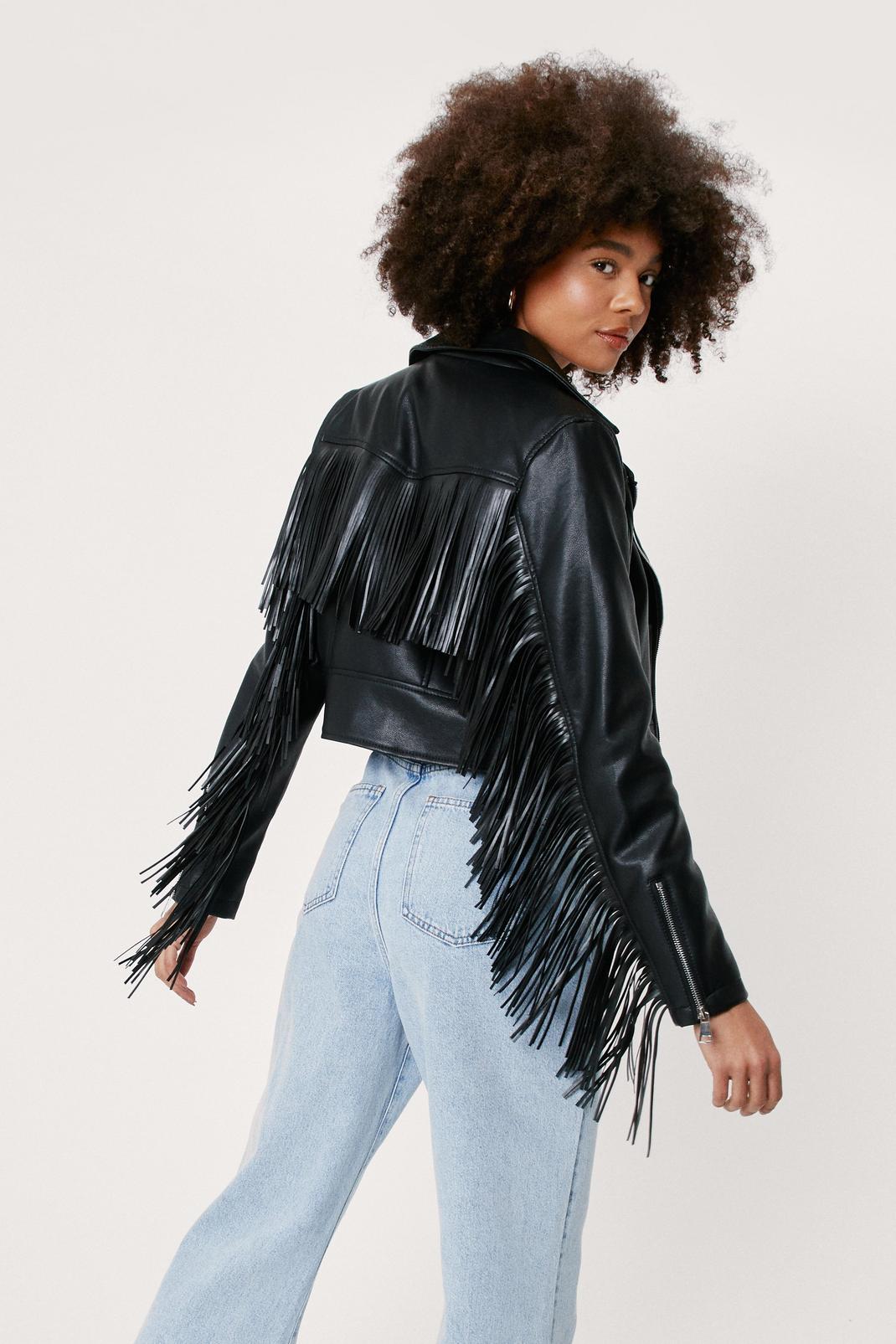 Faux Leather Fringed Jacket