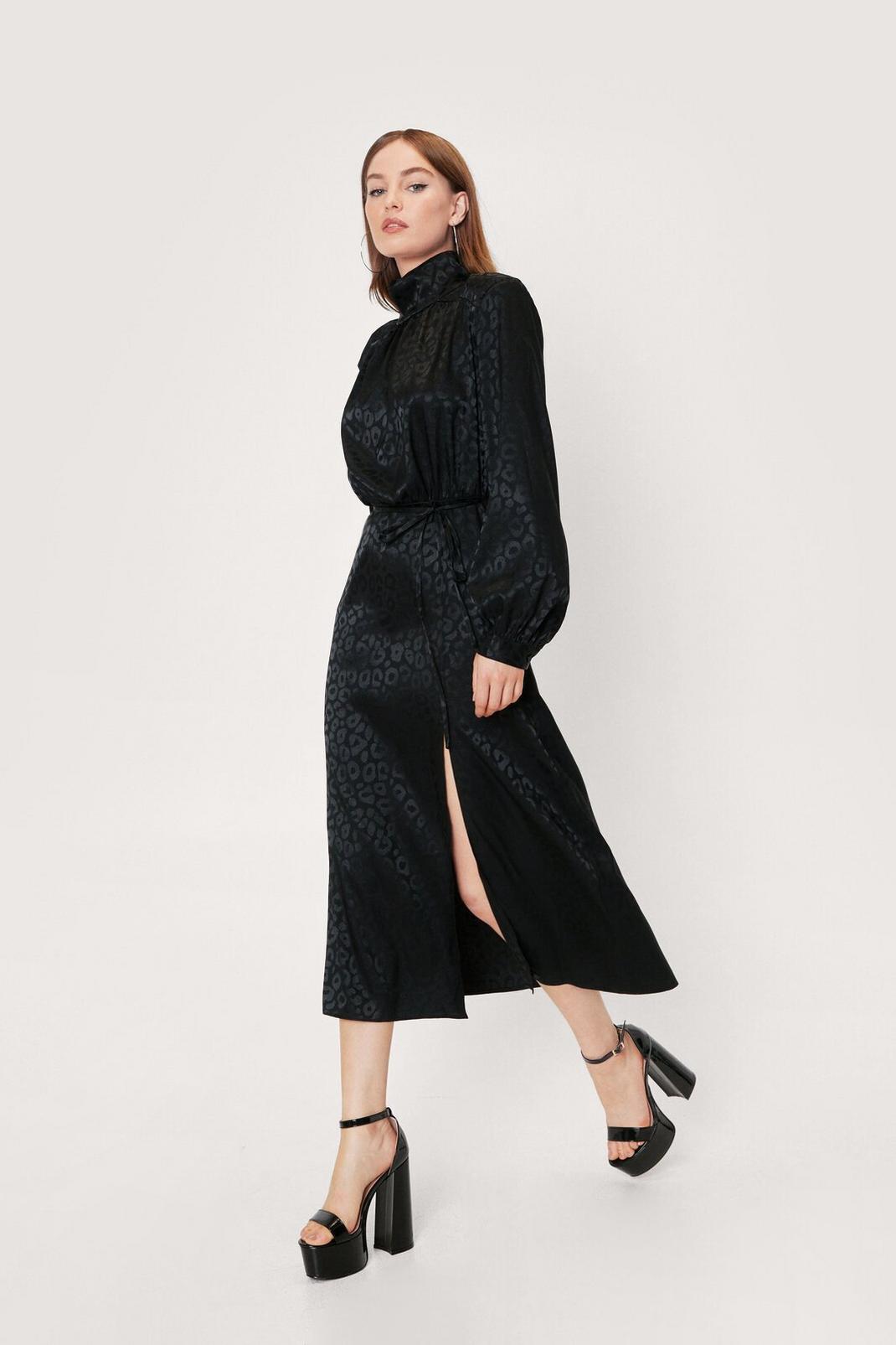 Animal Jacquard High Neck Midi Dress