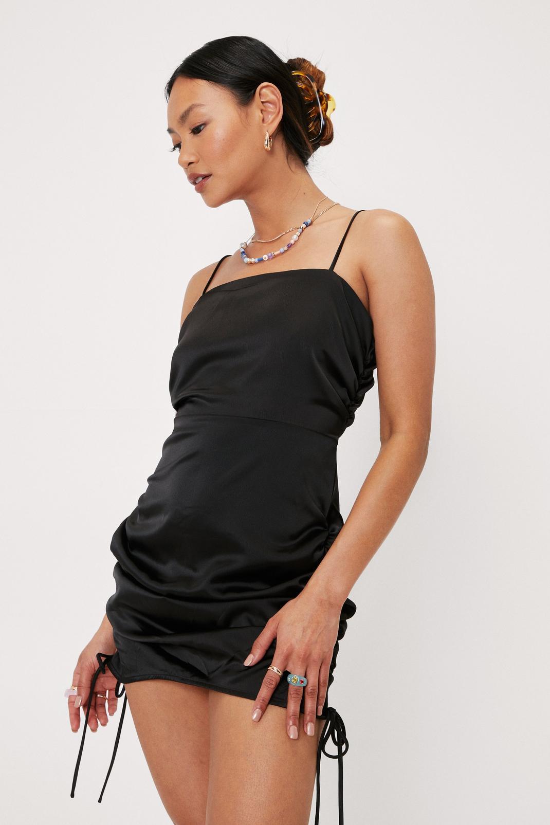 Black Petite Ruched Mini Dress