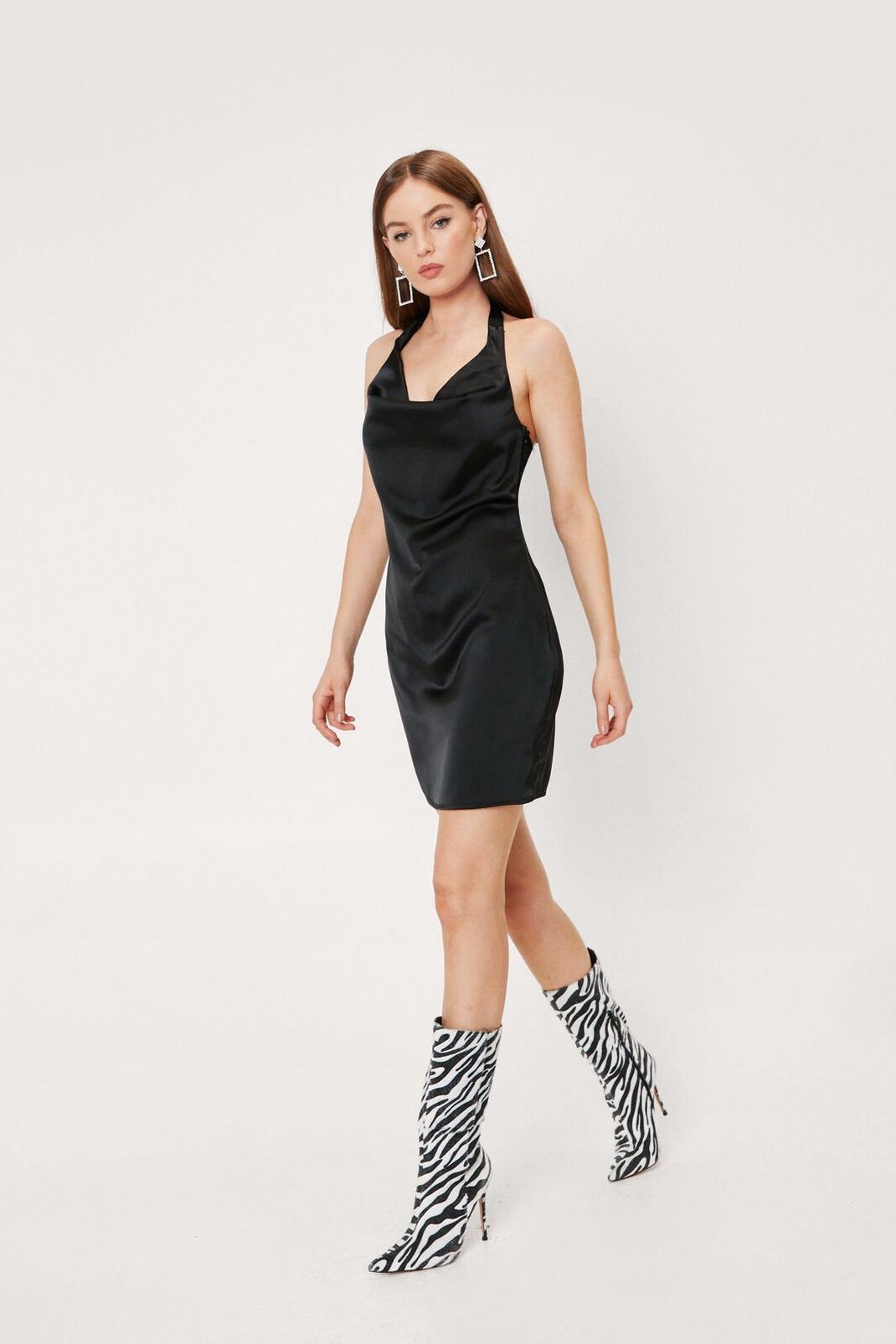 Black Satin Halter Mini Dress