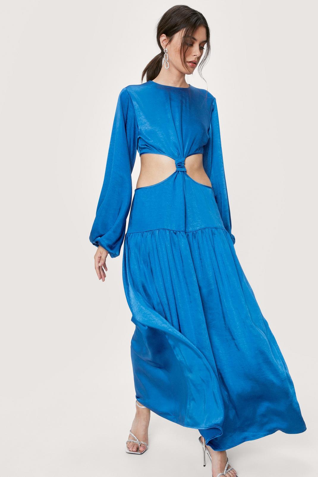 Satin High Neck Cut Out Maxi Dress