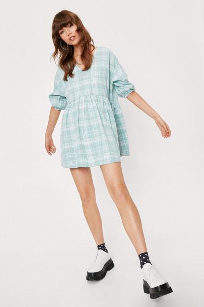 Check Print Mini Smock Dress