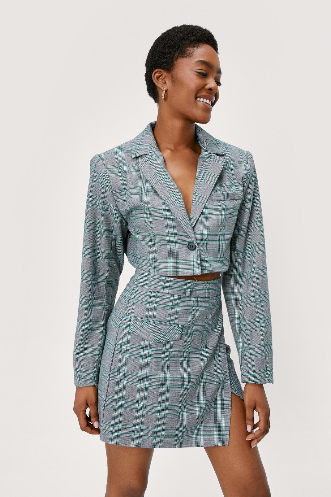 Asymmetric Check Slit Mini Skirt