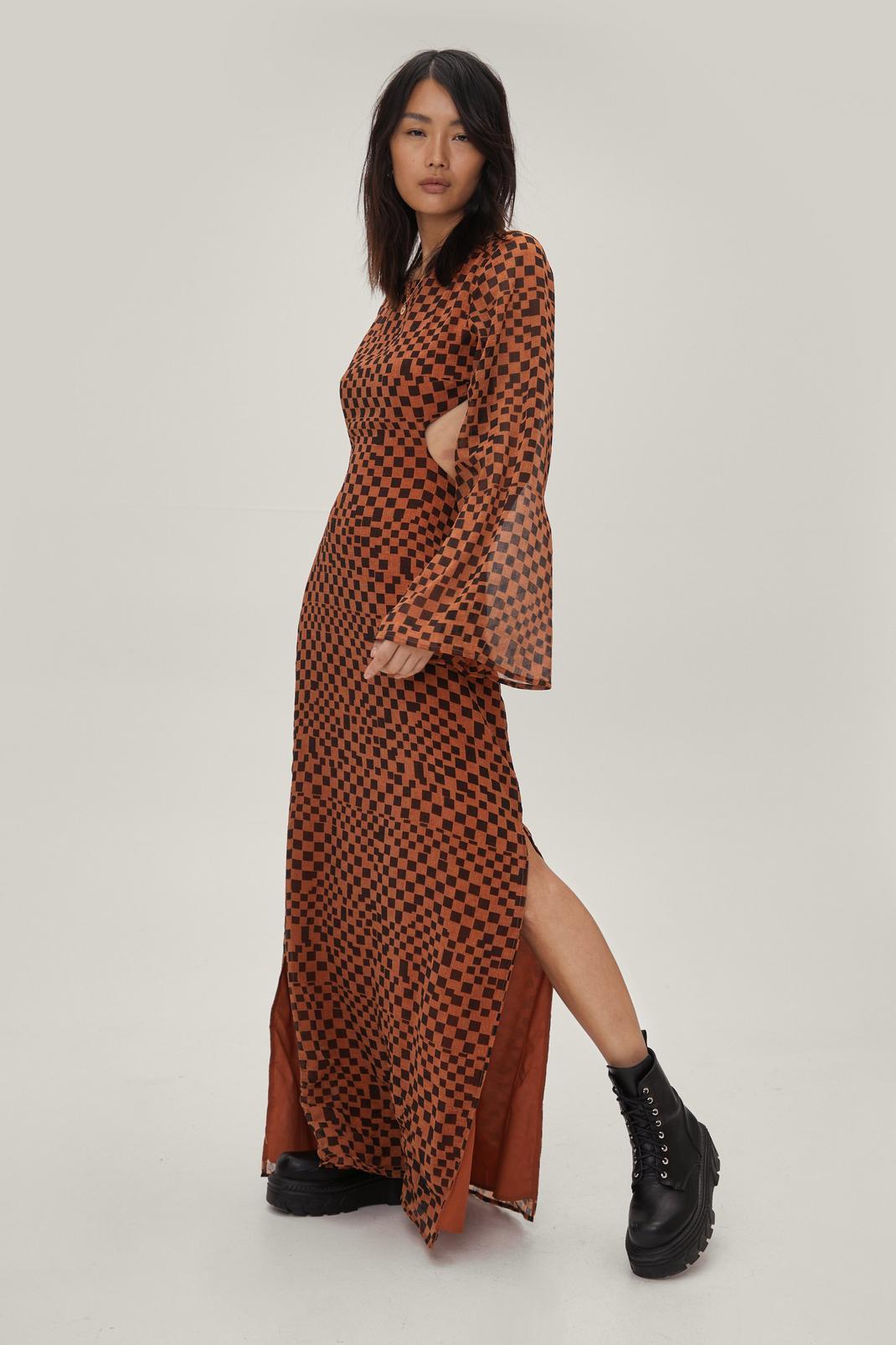 Checkerboard Backless Maxi Dress