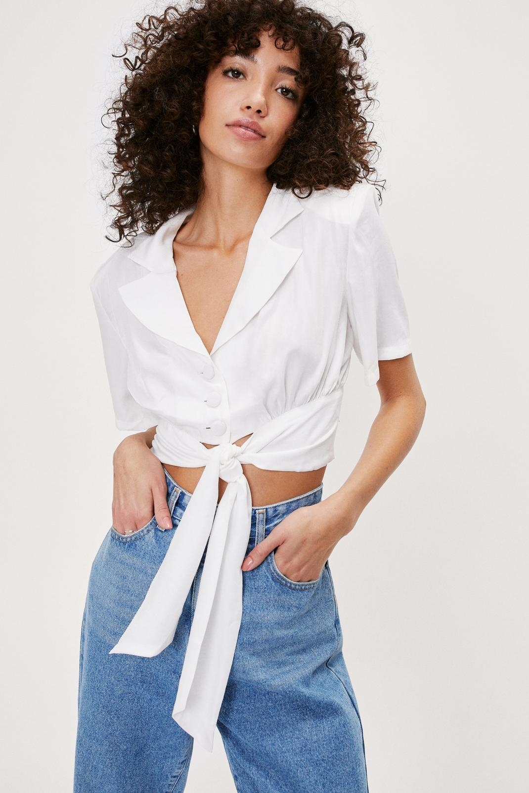 Cropped Tie Front Shirt