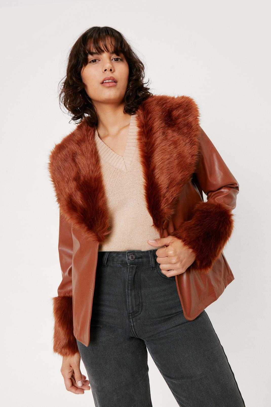 Faux Fur Trimmed Leather Blazer