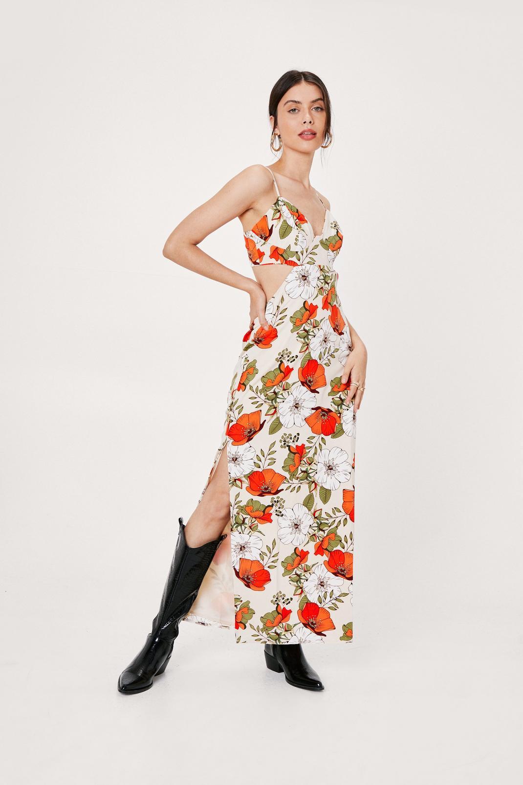 Floral Print Open Back Maxi Slip Dress