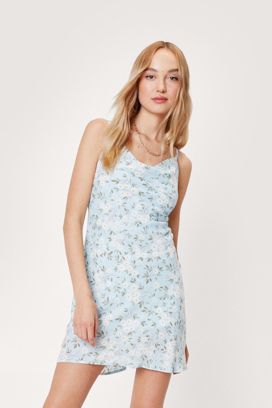 Floral Print Cowl Neck Mini Slip Dress
