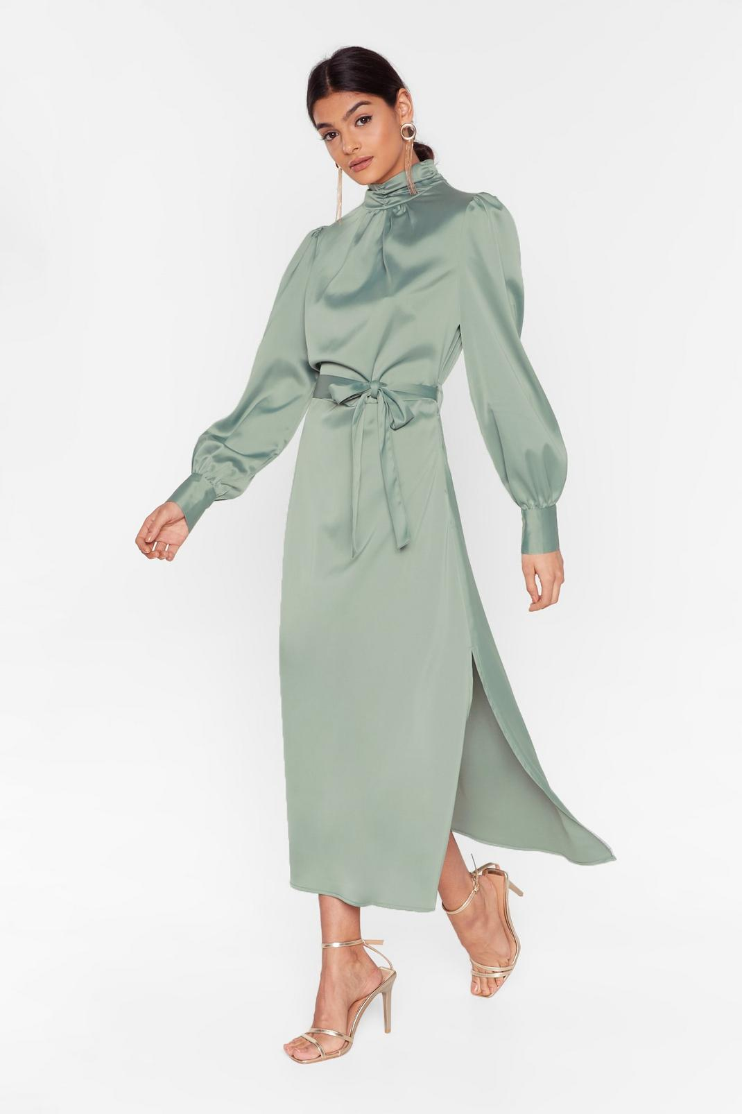 Satin High Neck Belted Midi Dress