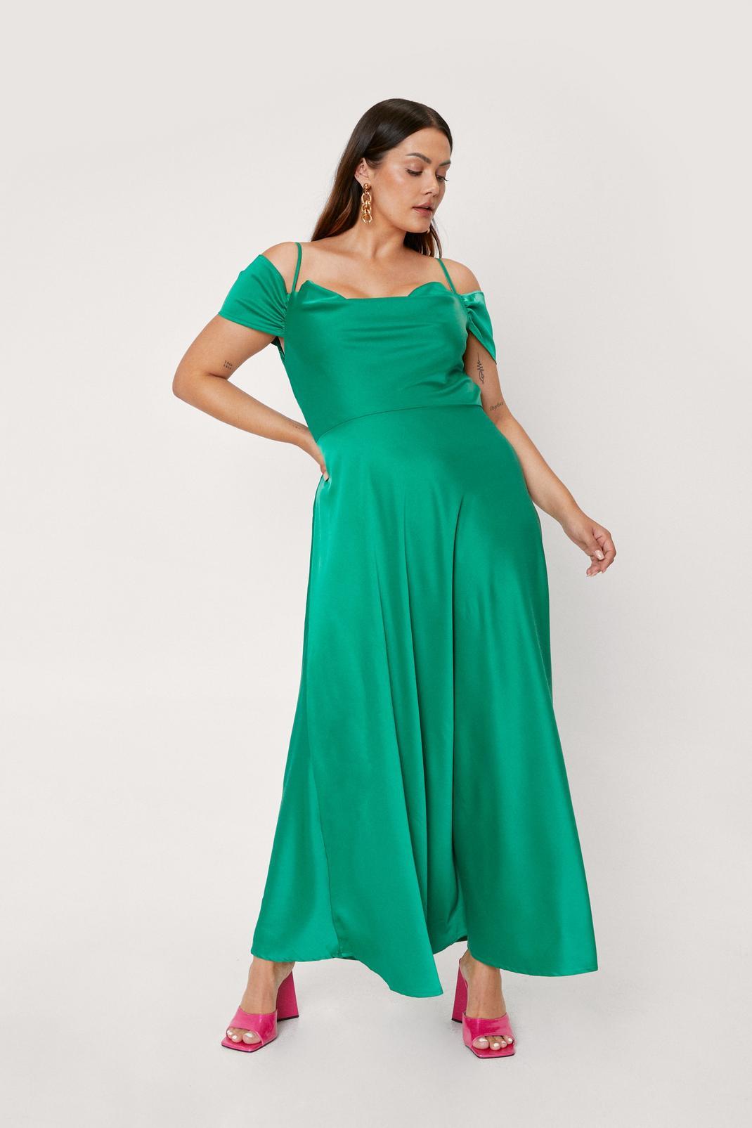 Plus Size Cowl Cold Shoulder Maxi Dress