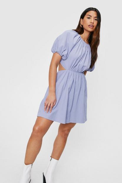 Blue Open Back Mini Dress