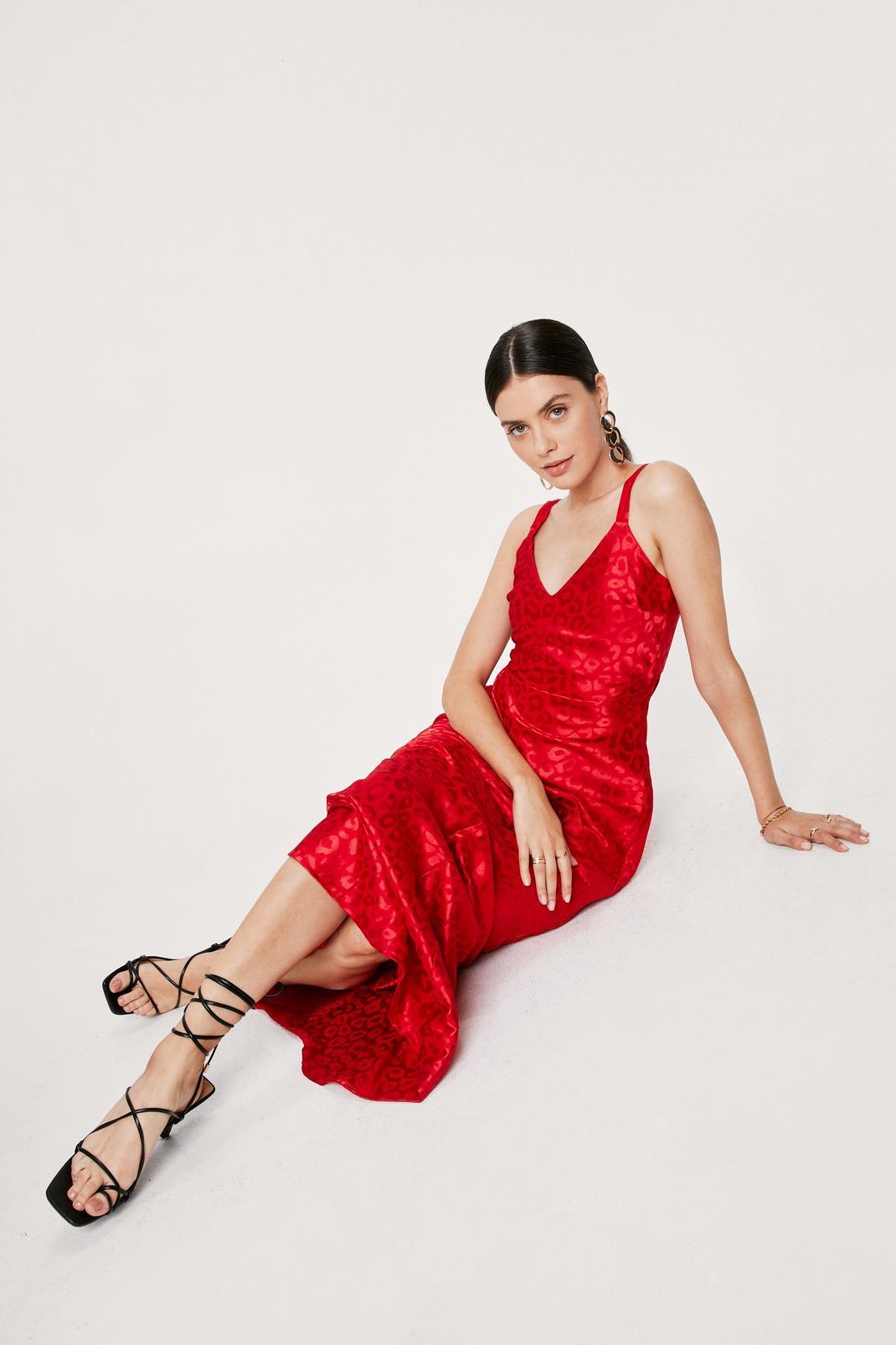 Red Animal Satin Jaquard Maxi Dress