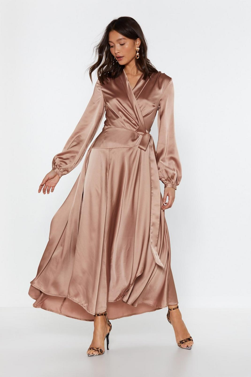 Satin Long Sleeve Maxi Wrap Dress