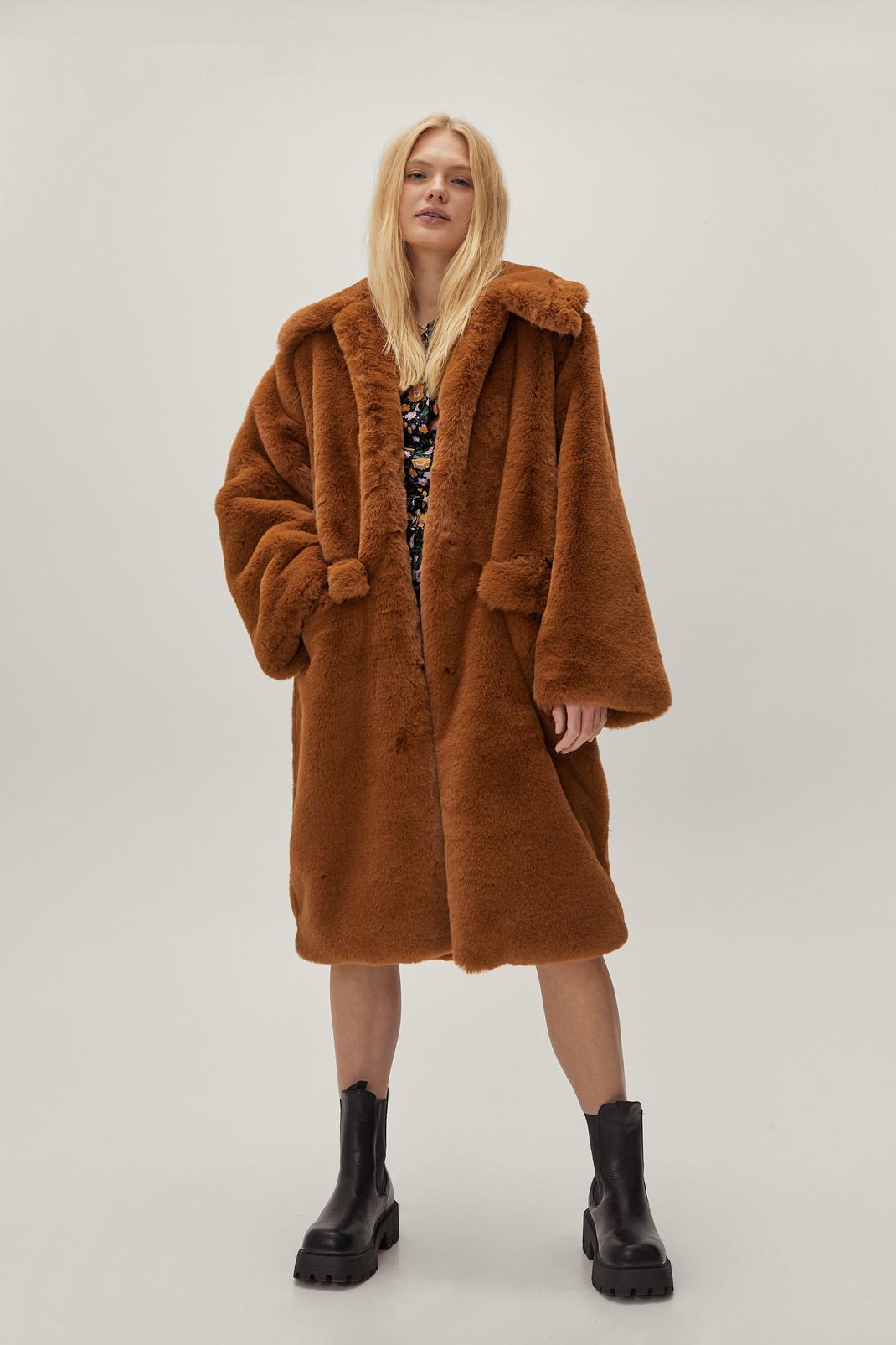 Longline Collared Faux Fur Coat