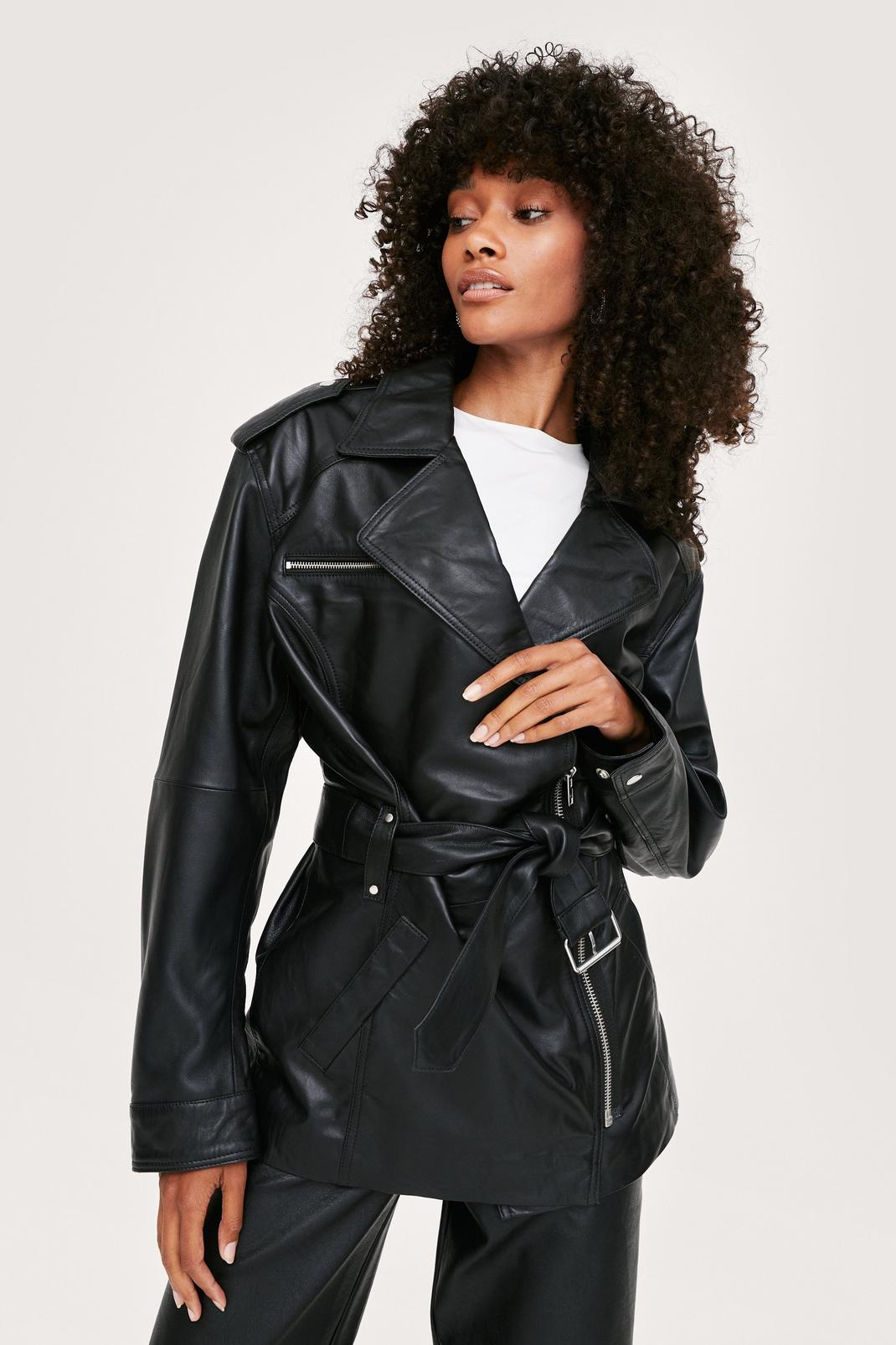 Longline Real Leather Jacket