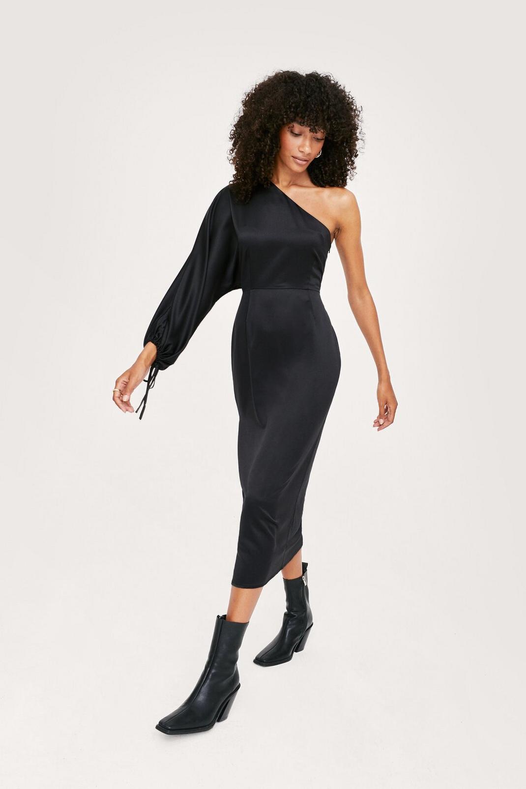 Black One Shoulder Midi Slip Dress
