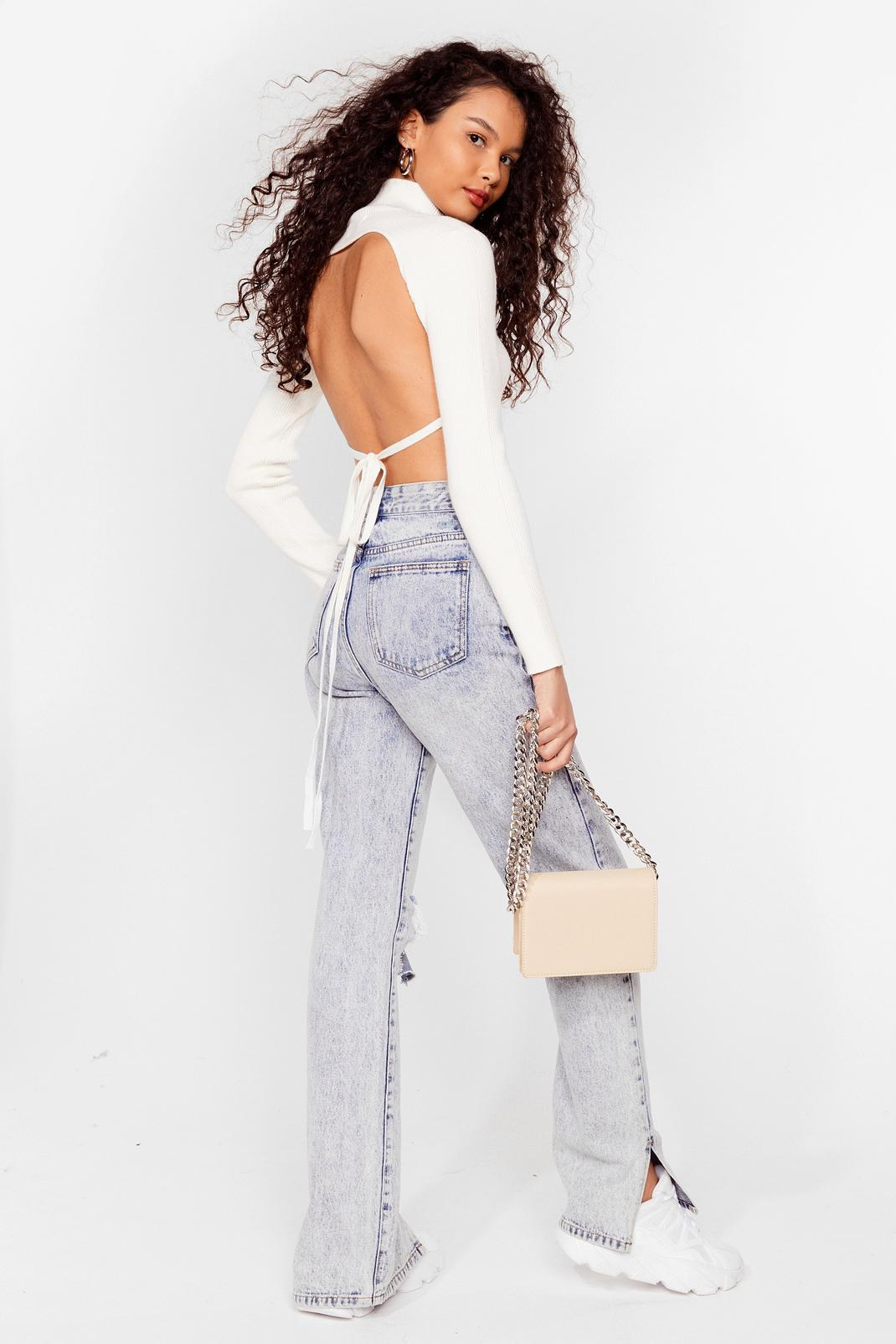 Open Tie Back Knitted Turtleneck Top