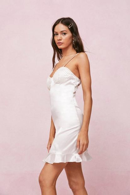 Pearl Bustier Satin Mini Dress