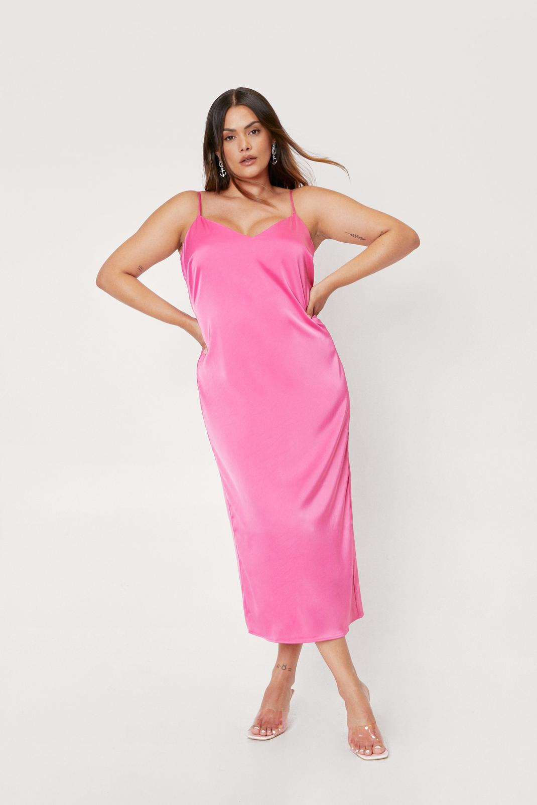 Plus Size Strappy Midi Slip Dress