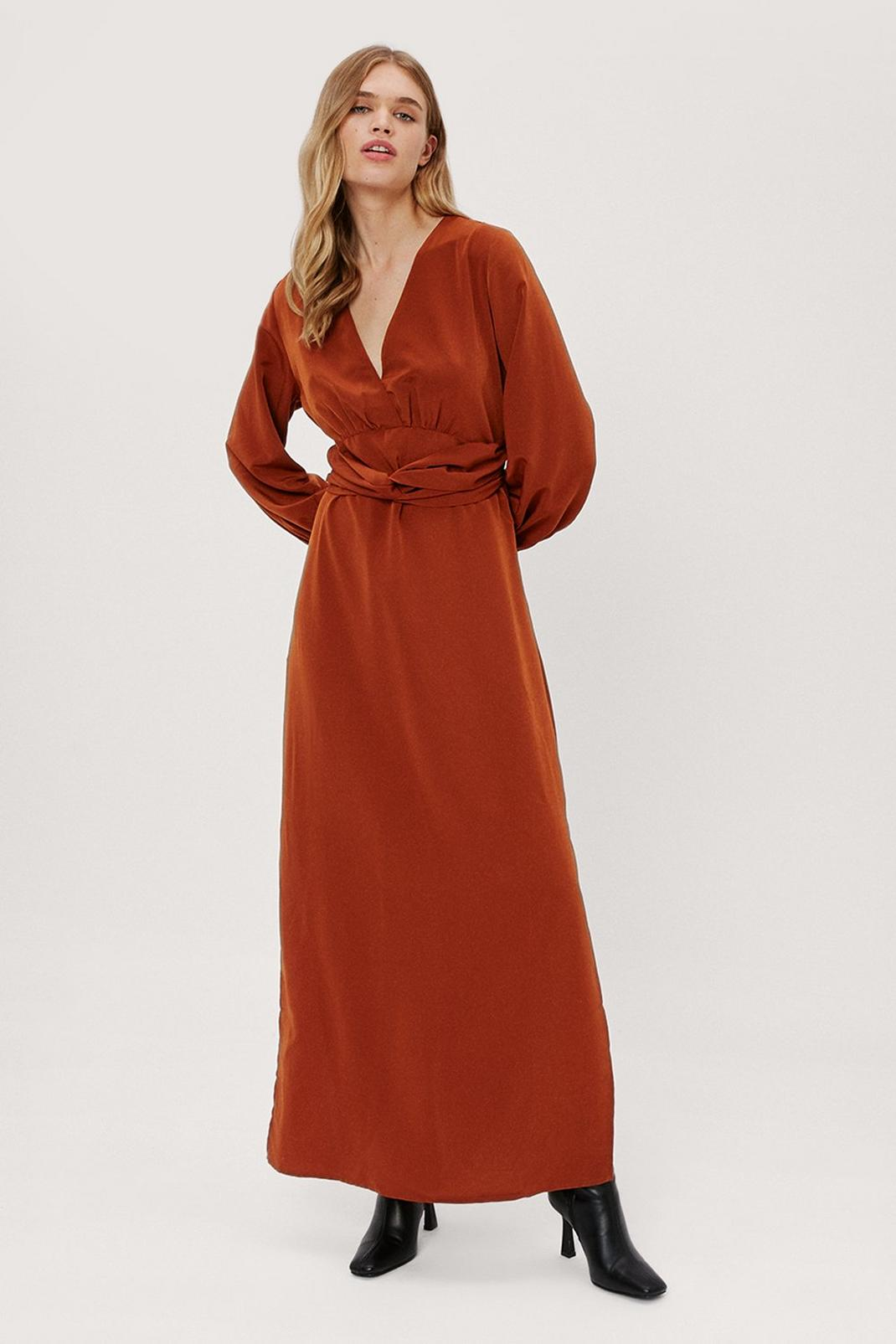 Plunge Twist Front Maxi Dress