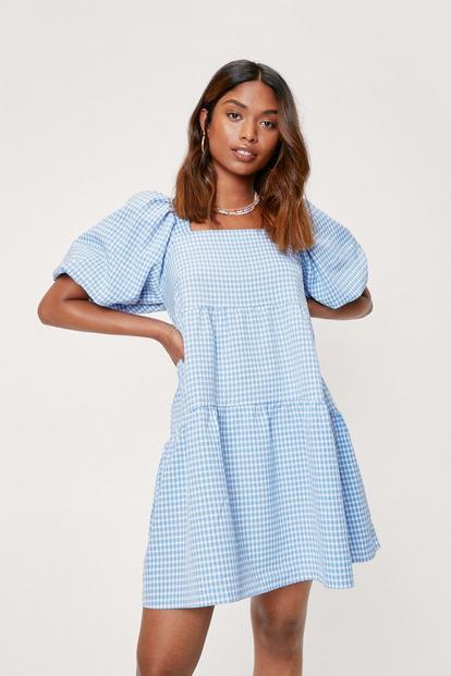 Puff Sleeve Gingham Mini Dress