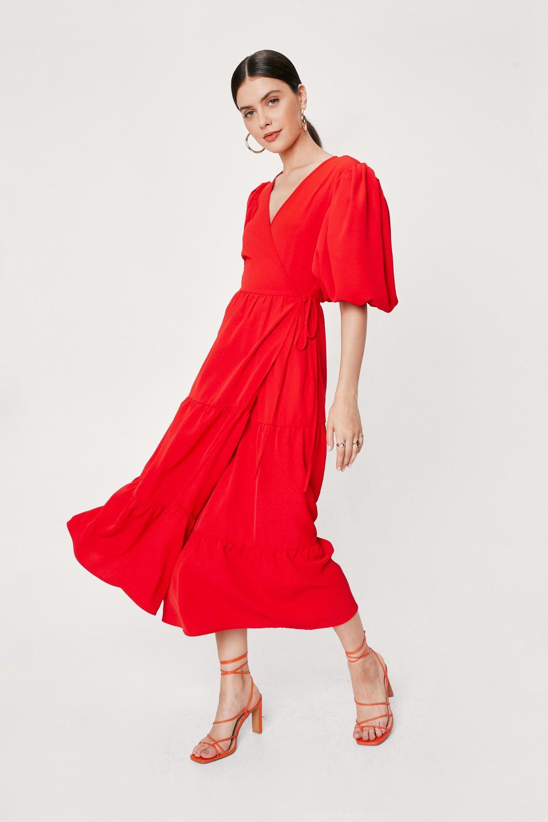 Red Puff Sleeve Maxi Wrap Dress