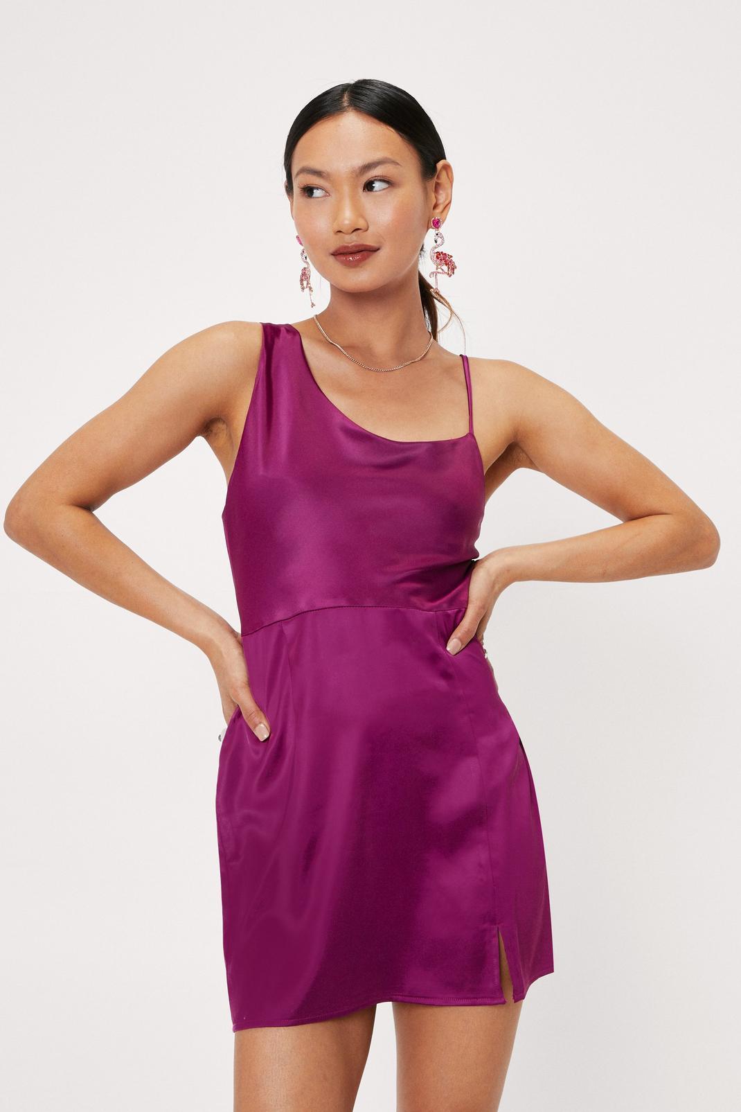 Petite Asymmetric Satin Mini Dress