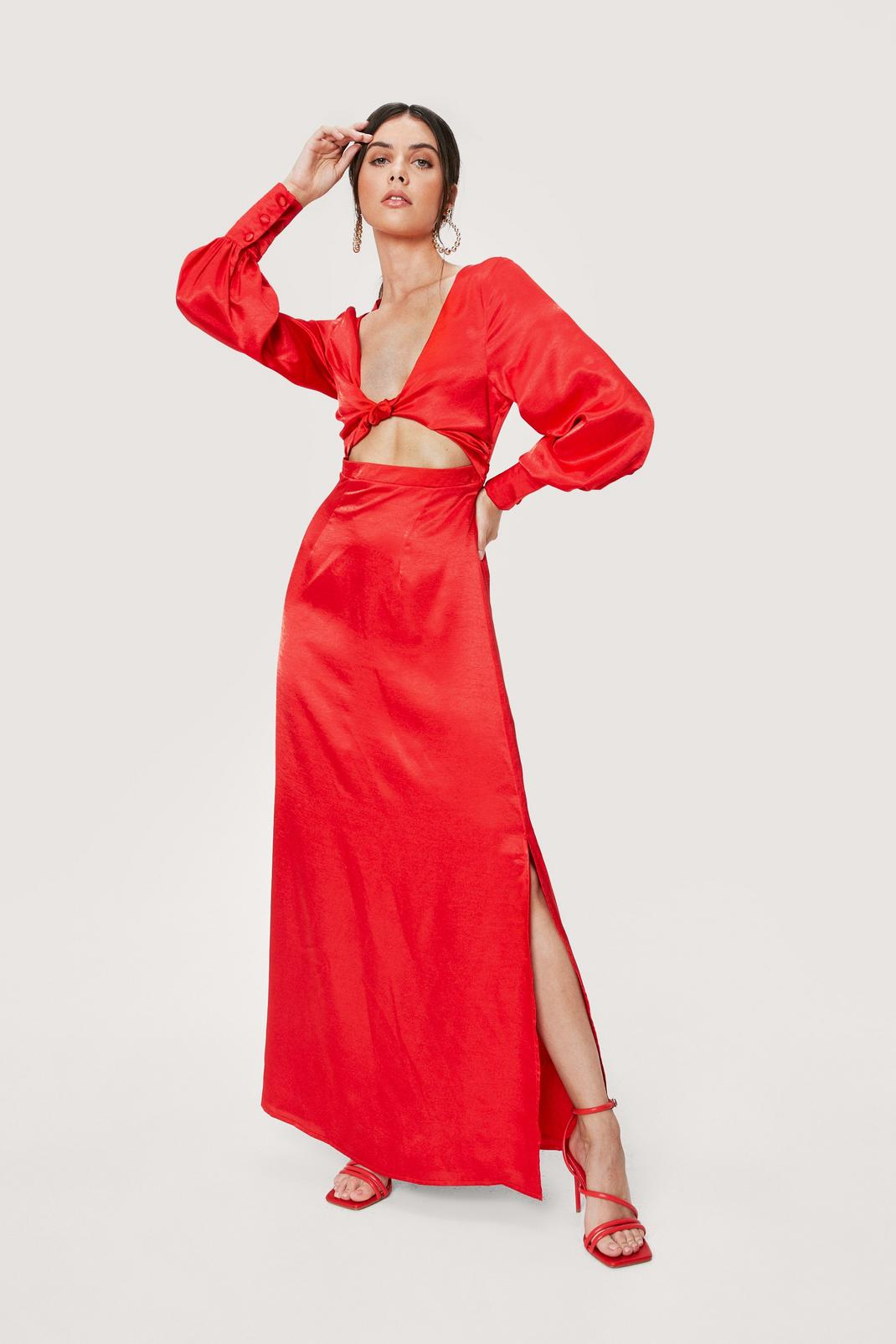 Red Cut Out Satin Maxi Dress